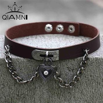 QIMING Vintage Friendship Necklace For Women Jewelry Cosplay Collar Gothic Lolita Jewelry Love Heart Choker Chain Necklace