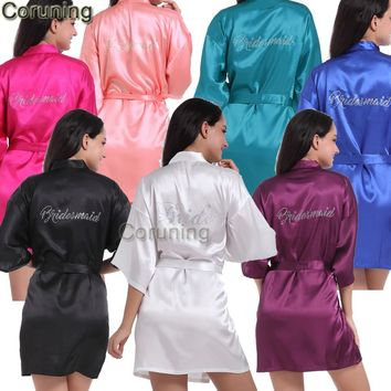 RB87  Summer Short Satin Rhinestone Letter Bride Robes Bridesmaids and Maid Of Honor Robes Sleepwear Nightwear Wedding Bathrobe