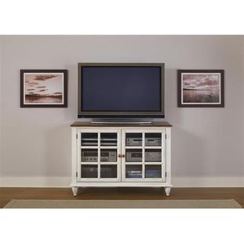 Liberty Furniture Low Country TV Console in Linen Sand & Suntan Bronze Finish