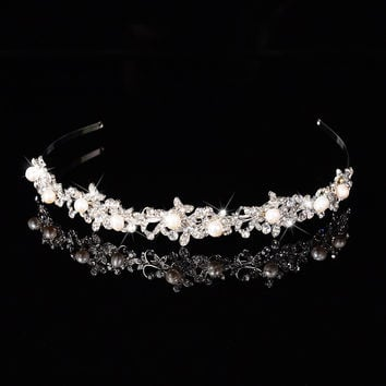 Pearl Hairwear Crystal Tiara Fashion Headband Crown Princess Handmand Tiaras Hair Jewelry Gift Wedding Dress Accessories Crowns
