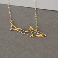 Geometric shark golden pendant, shark, shark necklace