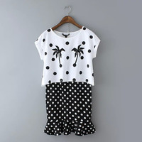 Coconut Tree Polka Dots Print Double Layer Ruffle Mini Dress