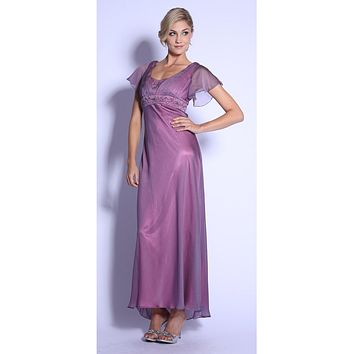 CLEARANCE - Azela Round Neck Mother of Bride Organza Tea Length Dress Sleeves (Size Large)