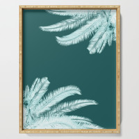 Palm leaves silhouettes on teal Serving Tray by byjwp