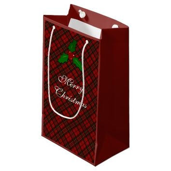 Adorable Red Christmas tartan with Holly twig Small Gift Bag by PLdesign
