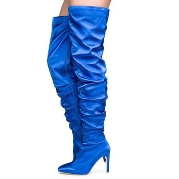 Cape Robbin Kitana 6 Women's Royal Blue High Heel Boots