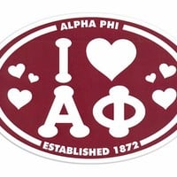 Alpha Phi I Love Sorority Sticker - Oval