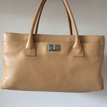 CHANEL TAN LEATHER EXECUTIVE REISSUE CERT TOTE BAG
