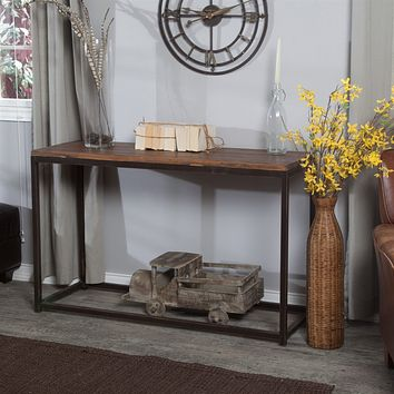 Solid Wood Top Sofa / Console Table with Metal Frame