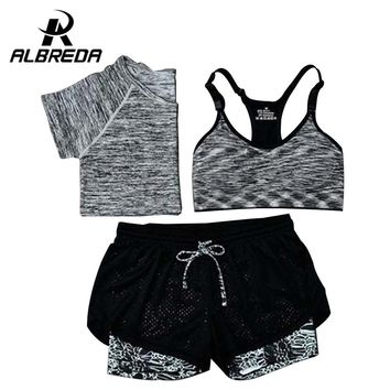 RODEX New Women Yoga Sport Suit Bra Set 3 Piece Female Short-sleeved Summer Sportswear Gym Running lie fallow Workout Clothes