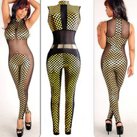 Yellow Geometric Pattern with Mesh Cut-Out Jumpsuit
