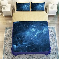 MeMoreCool Galaxy Series Boys and Girls 3-Piece Bedding Set with Matching Pillow Covers Galaxy Quilt Cover Creative Galaxy Space in Classic Design Bedding(Flat sheet, Twin)