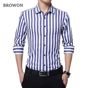 e03ff6ca7c BROWON Brand New Men Striped Casual Shirts Long Sleeve Mens Cott