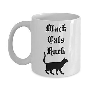 Black cat coffee mug Black cats rock tea cup Gothic Halloween gift for birthday cat lovers owners