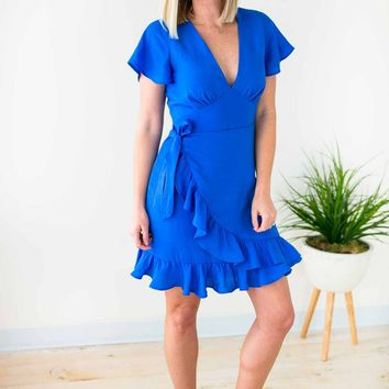You're Still The One Ruffle Dress - Royal