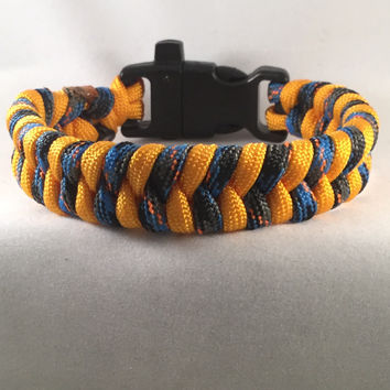 Barred Spiral Galaxy - Fishtail Paracord Bracelet with Emergency Whistle Buckle