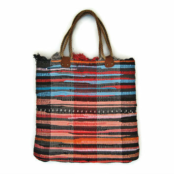 At the Sea Fabric Kilim Tote Bag Large - Boho Chic Style - Beach Boho Bag