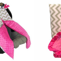 Chevron and Hot Pink Combo - Car Seat Cover & Blanket