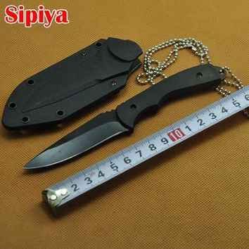 High Quality Hunting Knife Outdoor Camping Pocket Knives Blade Sanding Black Handle Knife