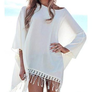 Chic 3/4 Sleeve Pure Color Fringed Women's Cover Up
