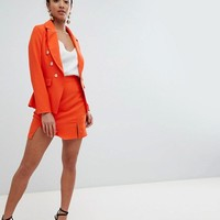 Missguided Petite Gold Button Blazer & Skirt Suit at asos.com