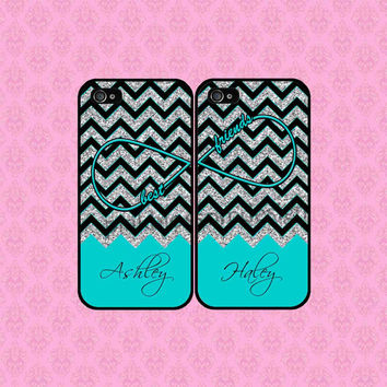 Best Friends iPhone 4 Case , iPhone 5 Case , iPhone Case , Chevron iPhone Case , TWO CASE SET ( Not Real Glitter )