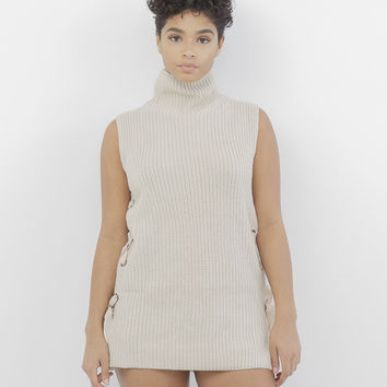 KNIT IT IN LACE UP SWEATER - BEIGE