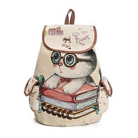 Women Lovely Cat Printed Drawstring Backpack / Teenager Large Capacity Ladies School Bag