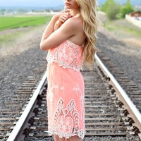 Just A Kiss Neon Coral Vintage Lace Dress