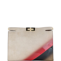 Fendi Peekaboo Marquetry Fur Clutch Bag, Multi