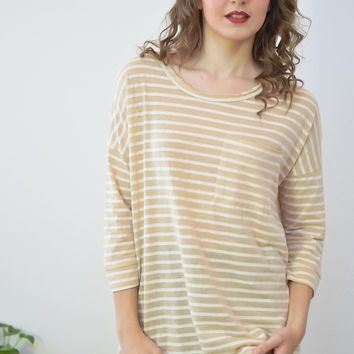 Paloma Striped Pocket Tee Distressed Collar Taupe Top
