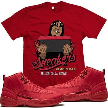 Jordan 12 Gym Red Sneaker Tees Shirt to Match - HELLUVA DRUG