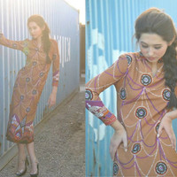 Vintage Sheath Dress 60s Abstract Printed Geometric Hawaiian Long Dress Long Sleeve XS S Autumn Fall