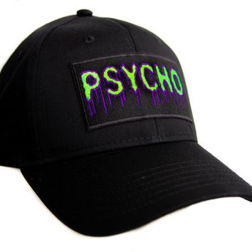 Psycho Purple & Green Drip Melting Hat Baseball Cap Occult Horror