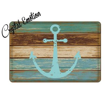 "Blue Nautical Anchor Rustic Old Barn Wood Door Mats Indoor Bathroom Kitchen Decor Rug Mat Welcome Doormat 15.7""x 23.6"""