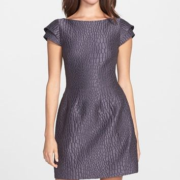 Women's Halston Heritage Jacquard Double Cap Sleeve Fit & Flare Dress