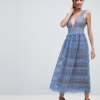 Boohoo Lace Midi Dress at asos.com