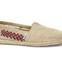 TOMS Embroidered Hemp Natural Women's Classics Slip-On Shoes,