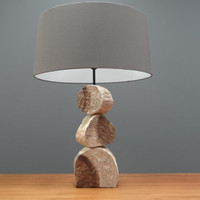 Table Lamp made from Hand Carved Wood with Gray Fabric Shade | Handmade Wooden Tabletop Light | Ambiance Lighting |