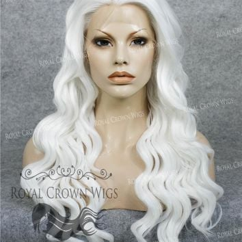 """24"""" Synthetic Lace Front with Wave Texture in White"""