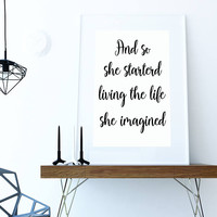 Inspirational Quote  - And so she started - Typography Print - Printable Home Decor - Wall Decor - Housewares - Printable digital download -