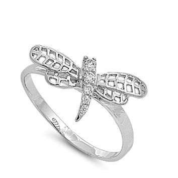 925 Sterling Silver CZ Self Conquer Dragonfly Ring 11MM