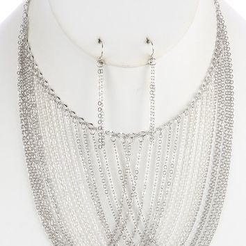 Sliver Multi Layer Chain Drape Bib Necklace And Earring Set