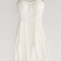AEO Women's Floral Eyelet Corset Dress (White)