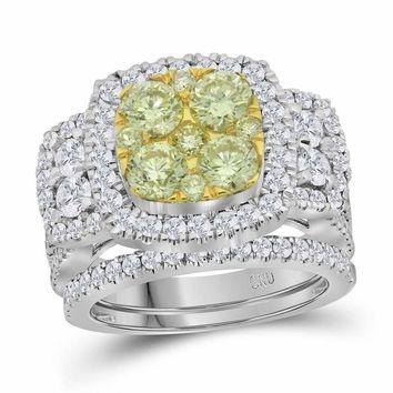 14kt White Gold Women's Round Yellow Diamond Bridal Wedding Engagement Ring Band Set 3.00 Cttw - FREE Shipping (US/CAN)