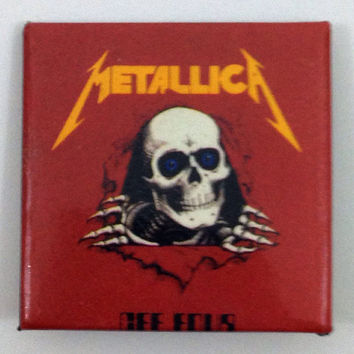 Vintage 80s Metallica Gee Four Thrash Metal Badge Pinback Button Pin
