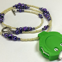 Purple Beaded Row Counting Necklace for Knitting or Crochet