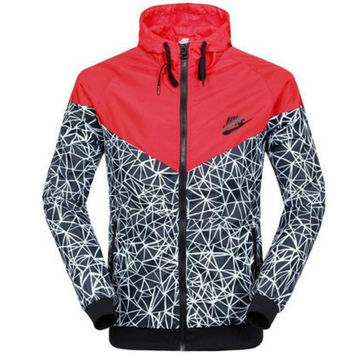 """NIKE"" Women Zip Hooded Sweatshirt Jacket Sport Cardigan Coat Windbreaker Sportswear Red"