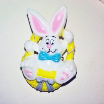 White Bunny Rabbit in Yellow Easter Basket Vintage Brooch Pin Fun Novelty Spring Summer Jewelry Peter Cottontail Woodland Animal Figure
