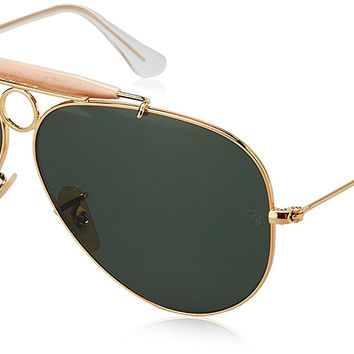 Ray Ban Sunglasses Shooter Metal RB3138 001 Gold/Crystal Green, 58mm